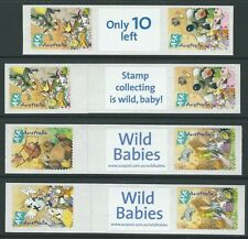 AUSTRALIA 2001 WILD BABIES SET OF 4 SELF ADHESIVE LABEL STRIPS UNMOUNTED MINT