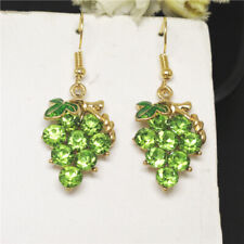 Crystal Betsey Johnson Women Stand Earrings New Green Enamel Cute Fruit Grapes