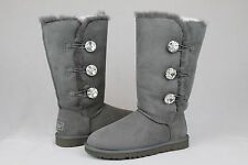UGG AUSTRALIA BAILEY BUTTON BLING TRIPLET CHARCOAL GREY SIZE 7 US # 1007252