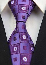 CS065 Purple Check Man Classic JACQUARD Woven Necktie Tie Formal Party