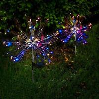 4/2PCS LED Solar Firework Lights Waterproof Outdoor Path Lawn Garden Decor Lamp