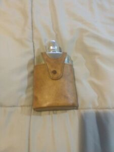 Vintage Glass Bottle Flask Brown Leather Case Snap Metal 8 Oz 6.5 Inches