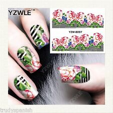 Nail Art Water Decals Stickers Wraps Pretty Summer Pink Flowers Gel Polish 8097