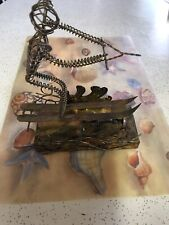 Metal Art Skier Music Box Playing Blue Hawaii Skier Moves Up And Down