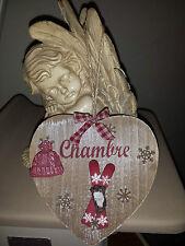Plaque de porte coeur «ski rouge» «chambre» en bois