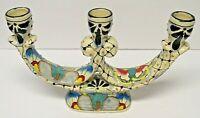 Traditional Mexican Folk Art La Flor Talavera Pottery 3 Arm Candelabra