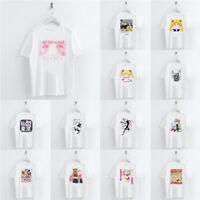 Women Funny Cartoon Sailor Moon Printed T-shirt Summer Crew Neck Casual Tops