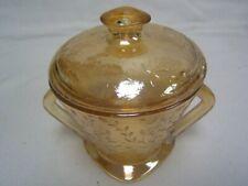 "Jeanette Glass Floragold iridescent Lidded Sugar Bowl 4"" Diameter EUC"