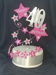 Glitter Stars & Diamanté Cake Topper Any Age & Name