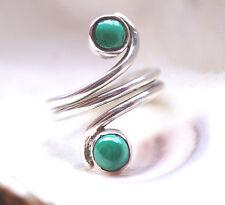 Breit Massiv Malachit Silber Draht Ring 58 Handarbeit Grün Spirale Halboffen