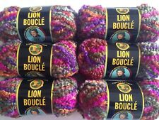 Lion Brand Lion Boucle Yarn - Color Tutti Fruitti - Lot Of 6