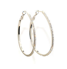 White Gold Finish Large Loop Earrings Sparkling Crystals Latch Back Fastener