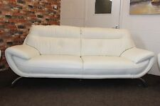 EX DFS WHITE LEATHER STANDARD 3 SEATER SOFA