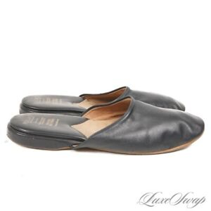 Brooks Brothers Peal & Co Made in England Navy Soft Leather House Slippers 9 D