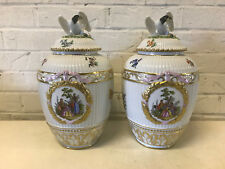 Antique German KPM Porcelain Pair of Potpourri Urns Painted Decoration Eagle Lid
