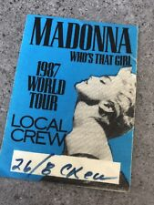 Madonna Who's That Girl Tour Crew Pass Sticker - Used