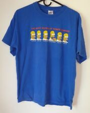 Men's T-Shirt,Homer Simpson,Size L,Blue,Short Sleeve,Graphic T,Women,100% Cotton