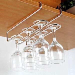 Stainless Steel Cup Holder Wine Glass Hanging Rack Under Cupboard Hanger Bar LA