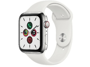Apple Watch Series 5, Chip W3, 44mm, GPS + Cellular, Caja acero inoxidable plata