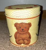 Vtg Century Resources Teddy Bear Tin Container 70s Vintage 1970s Metal USA Small
