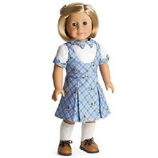 American Girl Kit SCHOOL OUTFIT jumper dress shoes socks blue retired NO DOLL