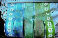 Floral Organza Mixture Greens & Blues Wired 38mm wide 3 Mets 5 Colour Choice AR1