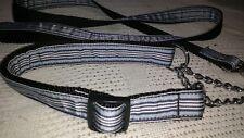 "Mirage Ribbon Martingale CHOKE CHAIN DOG Collar +  Lead 18-26"" NECK blue stripe"
