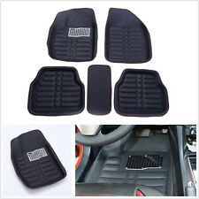 5 Pcs Black Leather Vehicle Off-Road Seat Front&Rear Floor Mats Carpet Feet Pads