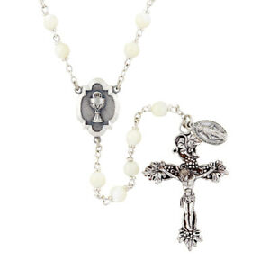 First Communion Rosary Heritage Collection White 6mm Glass Beads