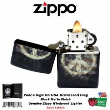 Zippo Peace Sign On USA Distressed Flag Lighter, Black Matte, Windproof #28864