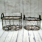 Two Chicken Wire Twig Baskets Rustic Farm House Lodge Primitive Natural Wedding
