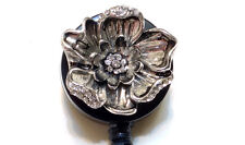 Retractable ID badge holder reel -Rhinestone Flower 0.625oz