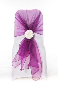 100 Fuchsia Pink Organza Chair Cover Hood Wrap Sash Bow Tie