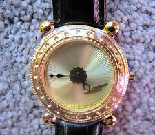 """ERTE SIGNED MENS WATCH """"GOLD DECO"""" Face with Black Band"""