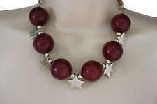 Women Short Fashion Necklace Multi Gold Stars Charm Classic Big Red Ball Beads