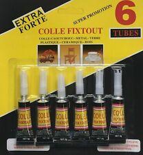 Lot 6 Colle Liquide Glue EXTRA FORTE  3g Caoutchouc MATERIAUX BOIS METAL PVC etc