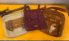 Lot of 3 Fossil Vintage Leather Shoulder Bags Purses Cross-Body Purple Iron Key