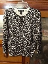 Cable & Gauge Animal Print Cardigan Sweater Sz S Small Career Casual
