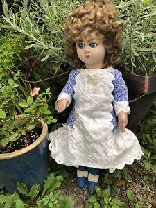 "Gorgeous  Antique French Cloth Gre Poir  18"" Doll C1930  Adorable Lenci style"