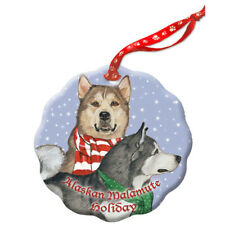 Alaskan Malamute Holiday Porcelain Christmas Tree Ornament