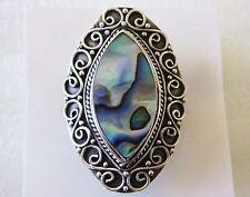 Abalone Artisan Ring, 925 Sterling Silver, size 7  ---  10.5 grams