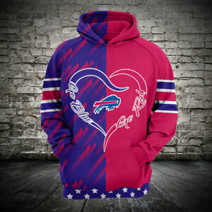 Buffalo Bills Football Hoodie Loose Casual Sweatshirt Hooded Sport Jacket Gifts