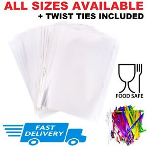 Clear Cellophane Bags for Sweets Cookies Party Gift Food Wrap Small Large + Ties