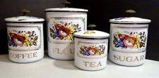 Vtg Georges Briard FRUIT 4-Piece Porcelainite Enamel Kitchen Canisters 60s RETRO