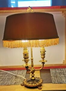 French Bouillotte 3 Branch Lamp With Original Gold Silk Shade Fully Rewired