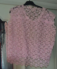 ANCIENNE BRODERIE DENTELLE ROSE TUNIQUE MAILLOT PULL ROBE BUSTIER DE SOIREE