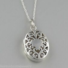 Oval Filigree Heart Locket Necklace - 925 Sterling Silver - Perfume Photo