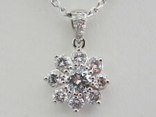 14k. White Gold Natural Diamond Cluster Pendant, New