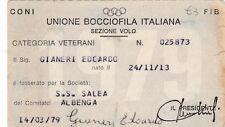 TESSERA UNIONE BOCCIOFILA ITALIANA SEZIONE VOLO ALBENGA 1979 12-37BIS