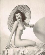 Original Vintage Alfred Cheney Johnston Female Nude Lady Parasol Photo Litho